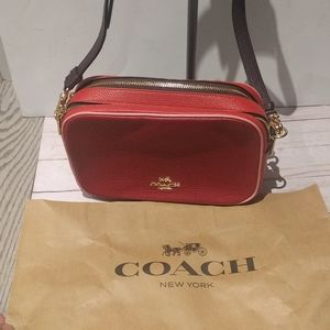 Beautiful red genuine leather bag by Coach 💓💓